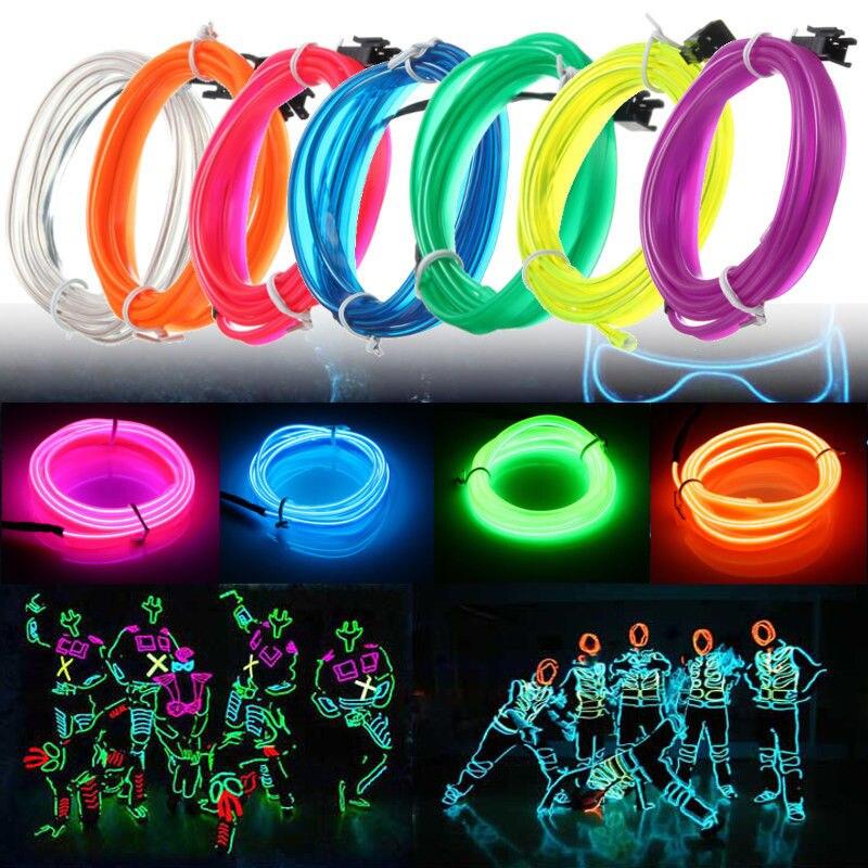 3 Meters 2.3mm LED Flexible EL Wire Neon Lights Glow Light Strip Party Festival Chrismas Home House Decoration Strip String Lamp