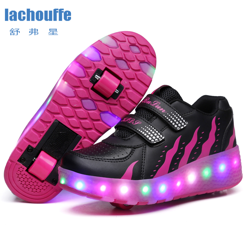 Kids Glowing Sneakers With Wheels Led Lights Up Shoes Women Roller LED Lighting Shoes Child Sports Boy Luminous Sneaker EU 27-41