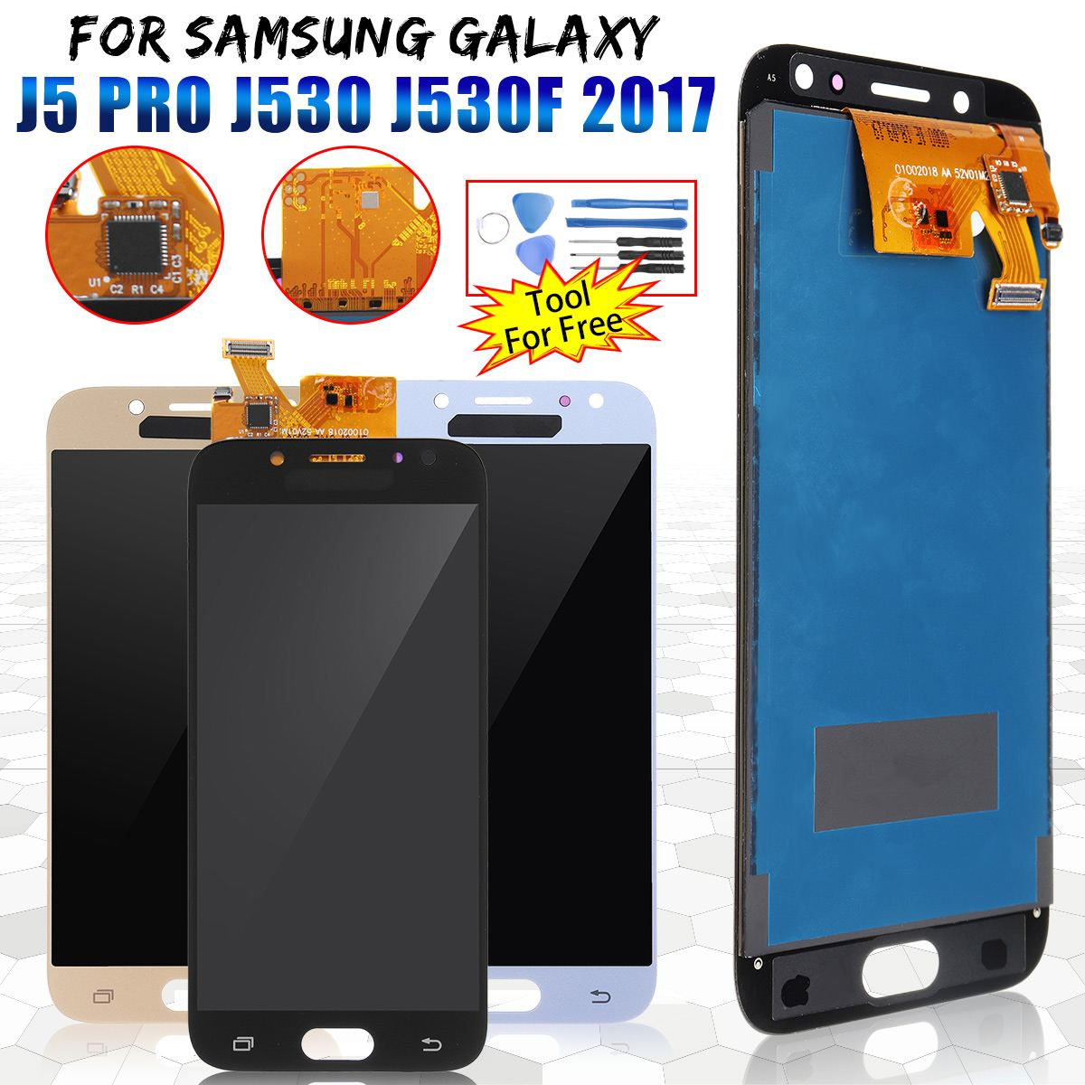 LCD <font><b>Display</b></font> Screen Digitizer + DIY Replacement Repair Tools for <font><b>Samsung</b></font> for <font><b>Galaxy</b></font> <font><b>J5</b></font> Pro <font><b>2017</b></font> J530 J530F Mobile Phone Fix Tool image