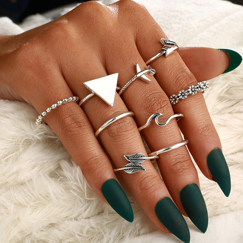 DIEZI 8pcs/set Bohemian Airplane Triangle Wave Feather Flower Knuckle Joint Rings Set For Women Vintage Silver Finger Rings image