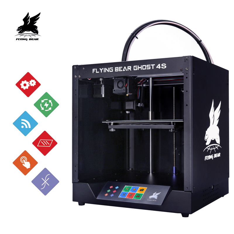 2019 popular Flyingbear-Ghost4S impressora 3d completa metal quadro kit diy com cor touchscreen presente sd transporte a partir de rússia