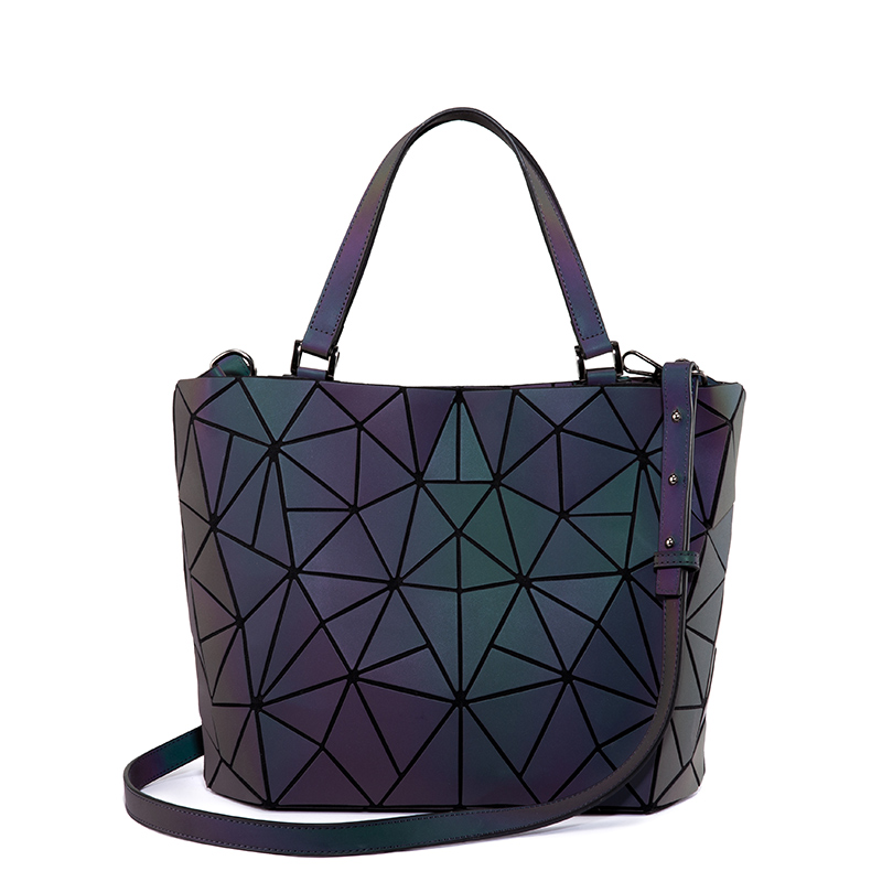 Lovevook Women Shoulder Bags Luxury Brand Handbag Folding Tote Bag Female Geometric Reflective Crossbody Bag Ladies Luminous Bao