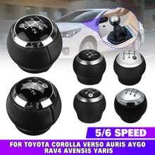 Perilla de palanca de cambios de coche, palanca de cambios, palanca de cambios, pelota balonmano, palo para Toyota Corolla RAV4 Avensis Yaris Verso Auris Aygo, 5/6