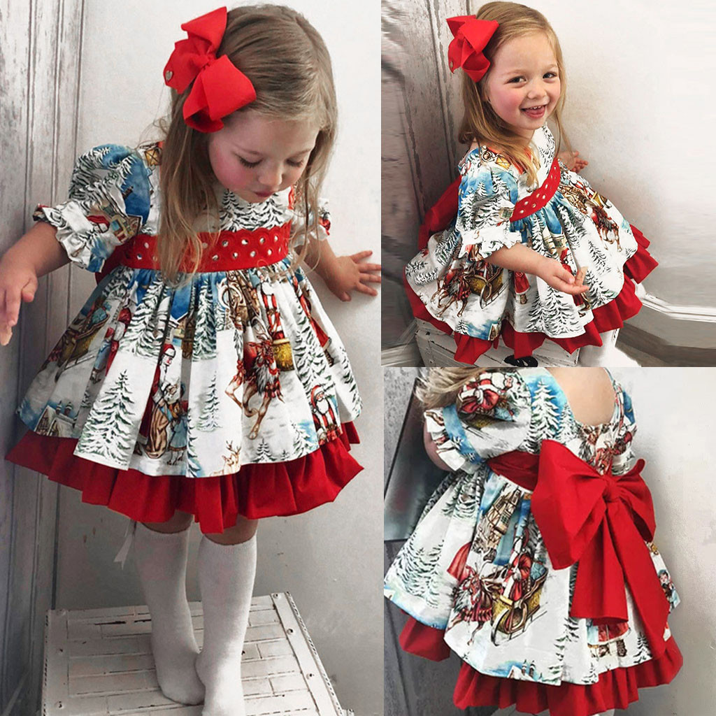 Toddler Christmas Dress.Us 4 68 40 Off Toddler Baby Girls Christmas Dress Cartoon Xmas Santa Print Princess Dress Tutu Tulle Kids Dresses For Girls 2019 On Aliexpress
