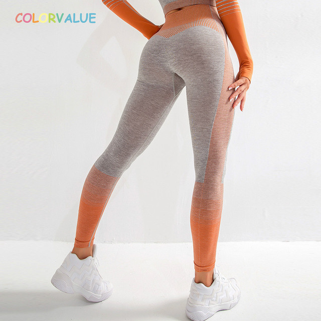 $ US $17.09 Colorvalue Stretchy High Waist Seamless Athletic Sport Workout Tights Women Striped Hip Enhancing Running Gym Fitness Leggings