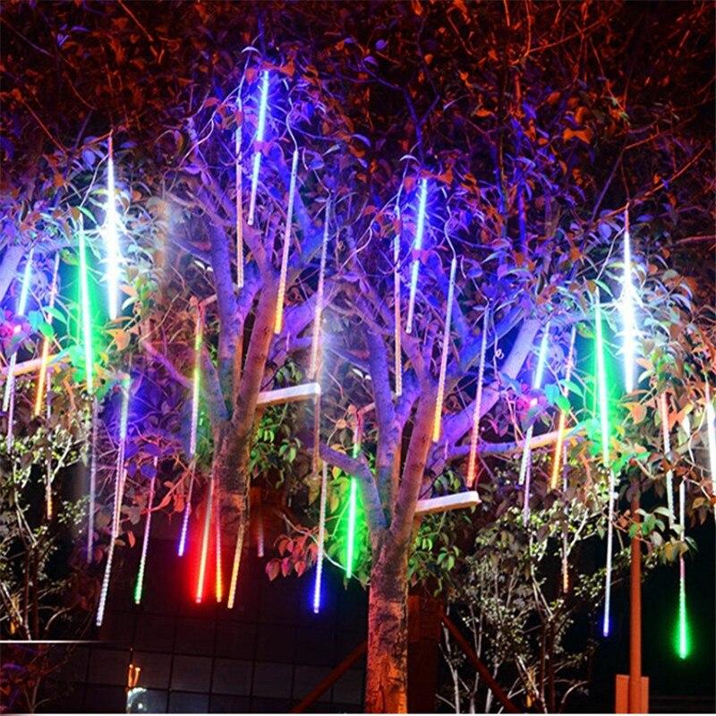 UK LED Meteor Shower Falling Rain Drop Icicle Snow XMAS String Fairy Lights 2019