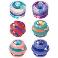 Cielo estrellado cielo giratorio de juguetes descompresión pequeño Spinner con cuentas cubo mágico juguetes Fidget dedo para aliviar el estrés rompecabezas Bola de pista