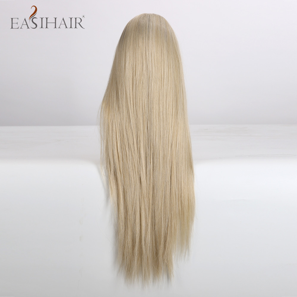 EASIHAIR Long Straight Blonde Lace Front Synthetic Wigs High Density Heat Resistant Lace Wigs for Women Layered Cosplay Wigs