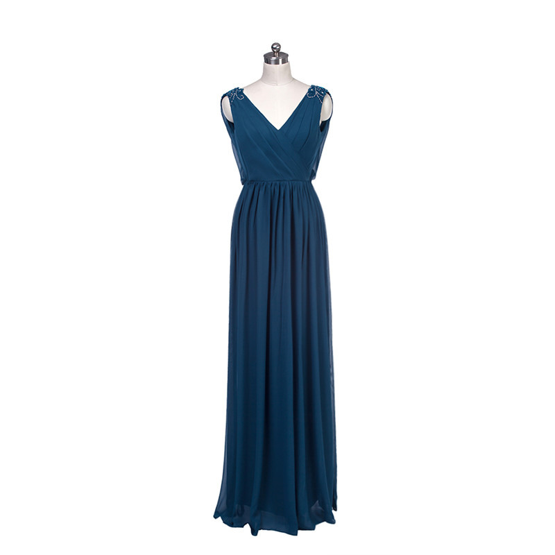 Real Photo Elegant Women Long With Crystals Beads V-Neck Sexy Blue Off The Shoulder Vestido De Noiva 2018 Bridesmaid Dresses