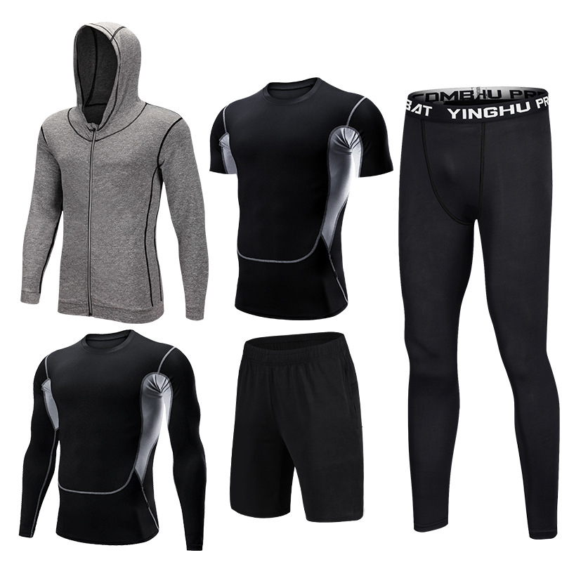 Mens ספורט 5 יח'\סט זכר אימונית דחיסת ספורט ללבוש עבור גברים חדר כושר כושר בגדי ריצה ריצה אימון ספורט חליפות