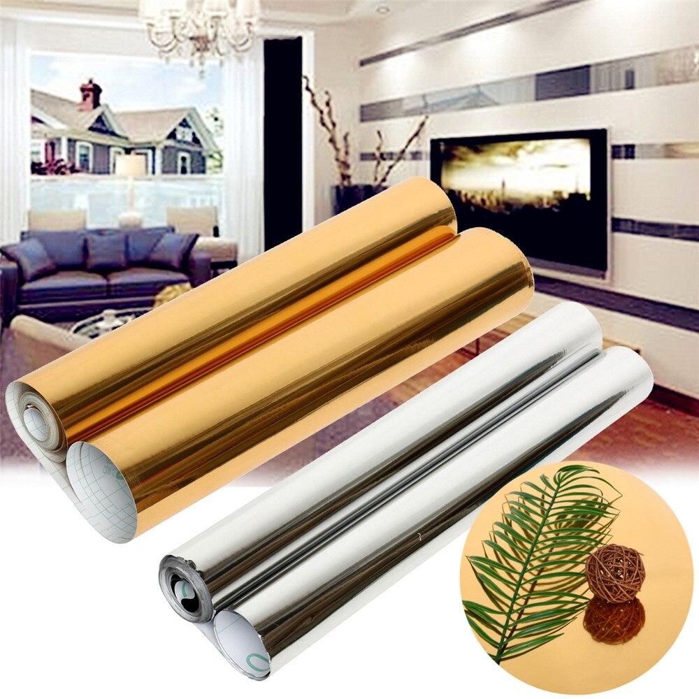 Métal effet papier peint auto-adhésif miroir argent brossé or autocollant étanche réfrigérateur vieux électrique bricolage Film décoratif