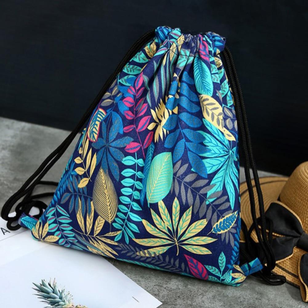 Women Lightweight Drawstring Bag Organizer Storage Backpack Travel Outdoor Shoulder Sport Multi Use Floral Print Canvas Pouch