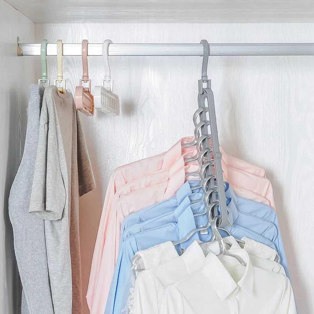 1/3/5/7 Uds. Suspensión creativa de ahorro de espacio 3D suspensión mágica para ropa gancho de toalla de 9 agujeros organizador de armario estante de almacenamiento de Color al azar