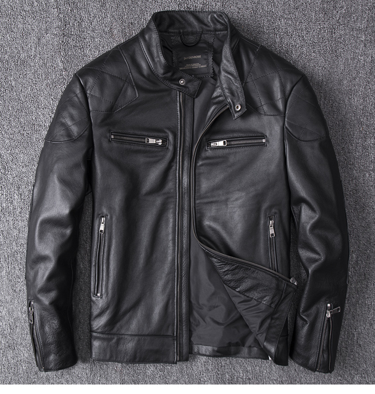 YR!Free Shipping.fashion Motor Biker Genuine Leather Jacket.Beckham Cowhide Coat.mens Plus Size Slim Leather Jackets,Popular