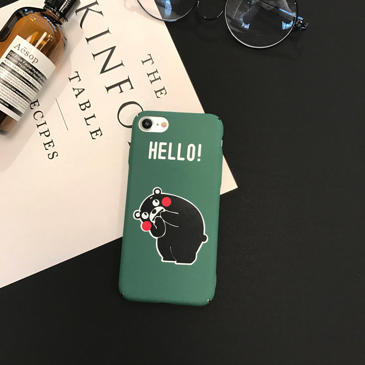 Janpan kawaii Cartoon Cute Kumamon Phone Case For iphone XR X XS MAX 6 7 8 S Plus hard fitted plastic luxury Couple phone cover in Fitted Cases from Cellphones Telecommunications