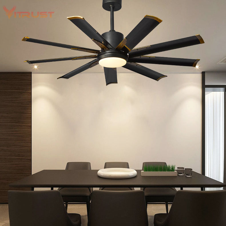 Variable Frequency Industrial Ceiling Fan With Light Kits And Remote Control Solide Metal Ceiling Fan Lamp Quiet Dining Room Fan