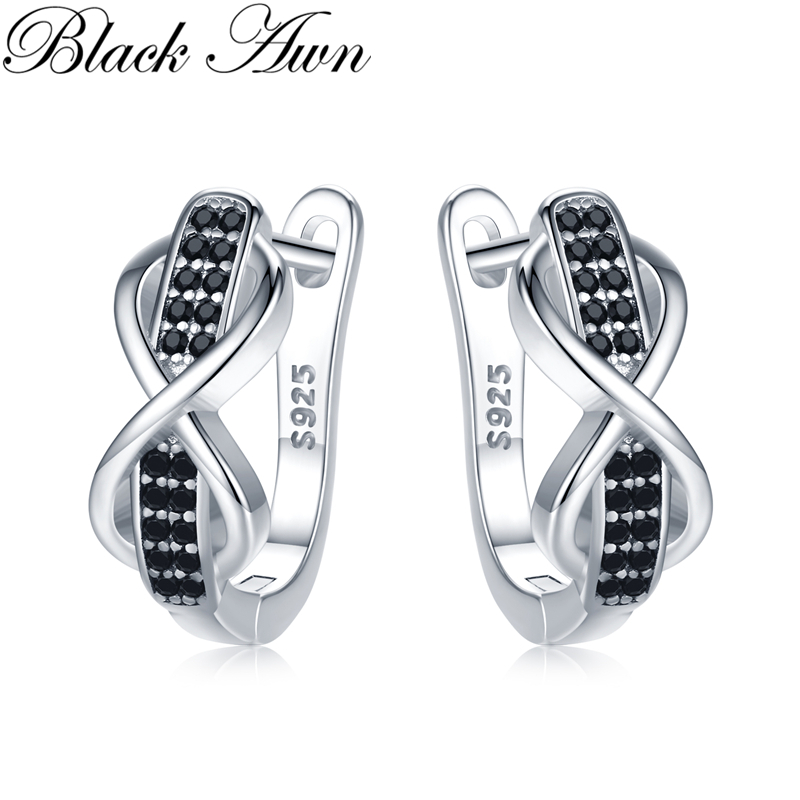 2020 [BLACK AWN] 925 Sterling Silver Round Black Trendy Spinel Engagement Bow Hoop Earrings for Women Fine Jewelry Bijoux I157