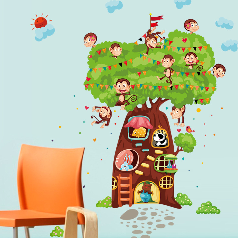 110*180cm Large Tree Home Decor Monkeys House Wall Stickers for Kids Room PVC Vinyl Wall Decals Cartoon Animals Wallpaper