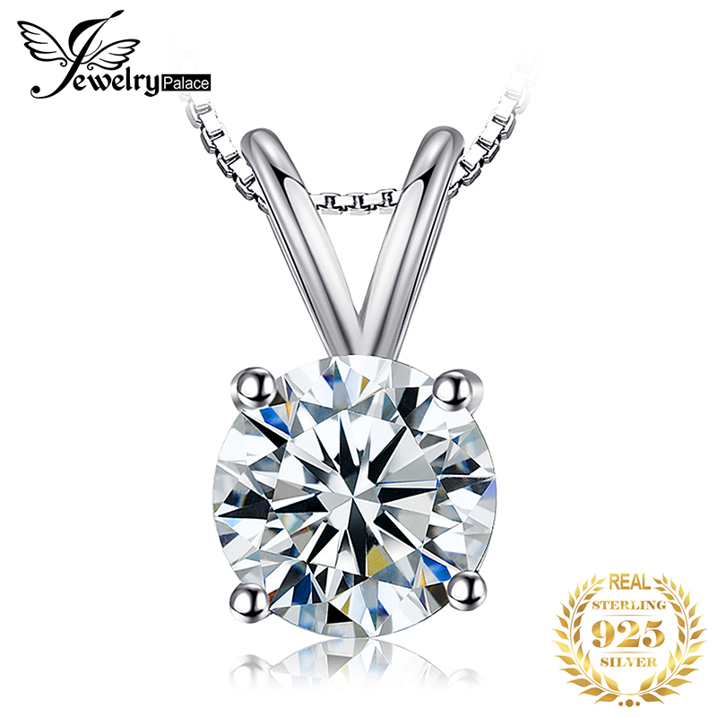 Round 1ct CZ Solitaire Pendant Necklace 925 Sterling Silver Choker Statement Necklace Women Silver 925 Jewelry No Chain
