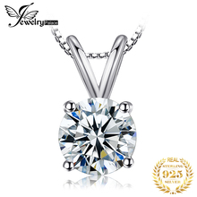 JewelryPalace Classic Round 1ct CZ Simulated Diamond Real 925 Sterling Silver Jewelry Solitaire Pendant Necklace 18 Chain