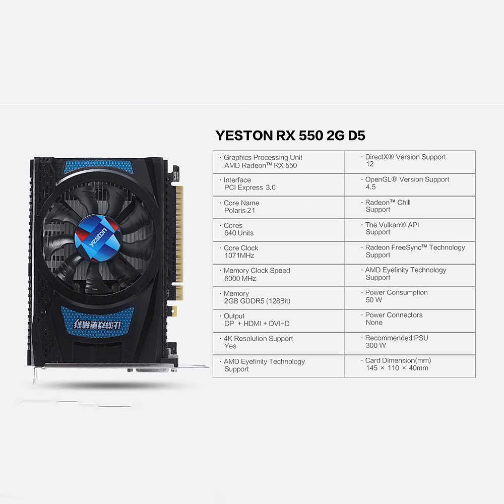 Yeston RX550-2G D5 TA Graphics Cards Radeon Chill 2GB Memory GDDR5 128Bit 6000MHz DP+HDMI+DVI-D Small Size GPU 6