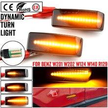 2 Pièces Voiture Dynamique LED Balise Lumineuse de Côté de Répétiteur de Clignotant Lampes Pour Mercedes Benz C E S SL CLASSE W201 190 W202 W124 W140 R129