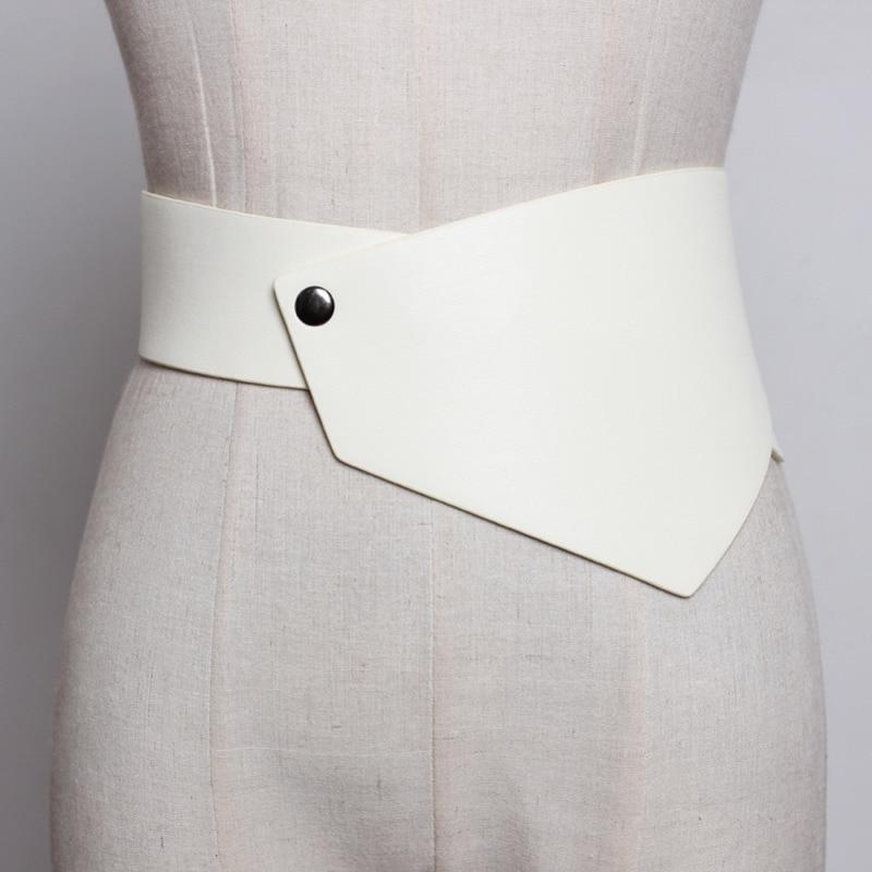 2020 New Design Fashion Trendy Corset Belt Leather Asymmetrical Edge Waistband Female Casual Zipper Belts For Women Tide ZK420
