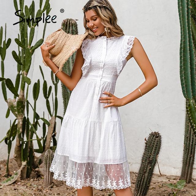 Simple Elegant ruffle lace white dress 2
