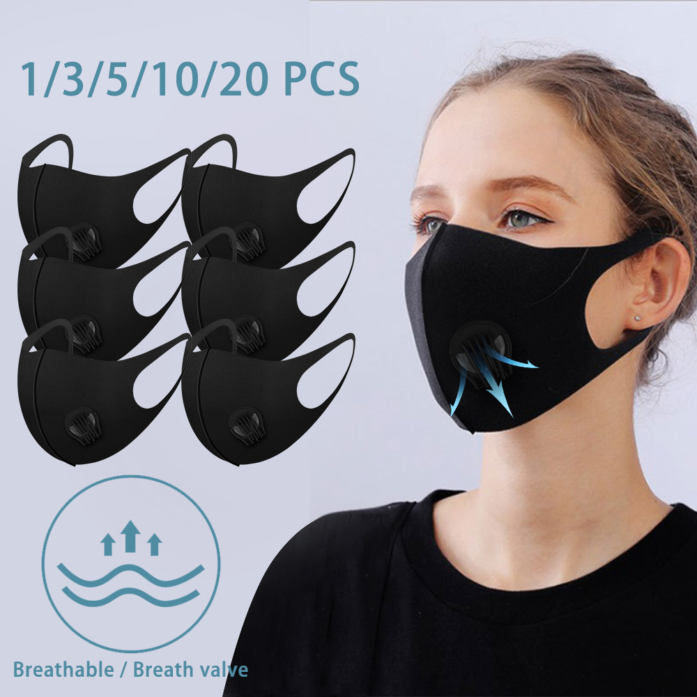 10/20pc Face Mask With Breath Valve Fog PM2.5 Elastic Breathable Soft Mouth Mask Washable Safety Respirator Mask With OPP Bag