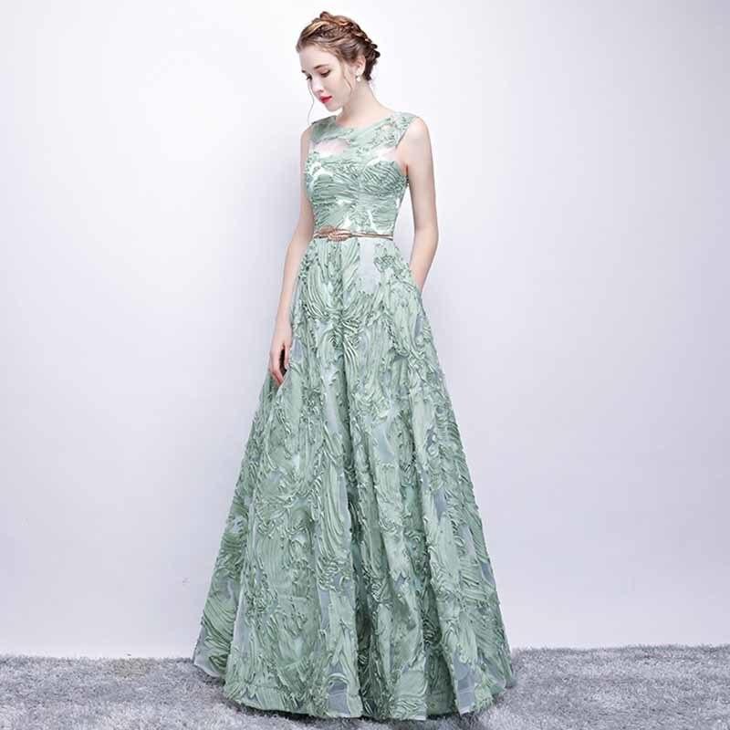 N personnalisé Floral Applique Illusion vert de luxe robe de soirée grande taille robe Maxi tapis rouge robe de bal grande taille 5xl - 4