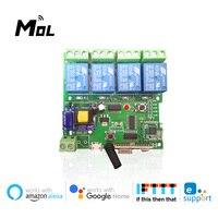 EWeLink-Módulo de interruptor inalámbrico con Control remoto inteligente, dispositivo con Wifi, 1CH/4CH, DC5V, 12V, 32V, 220V, bloqueo automático, recepción RF, 10A