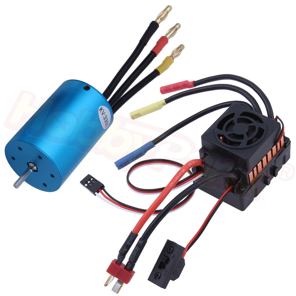 540 Brushless Motor 3300KV And 60A Waterproof ESC Combo Set Support 2-3S Lipo Battery For 1/10 RC Car Truck Off Road Buggy Model