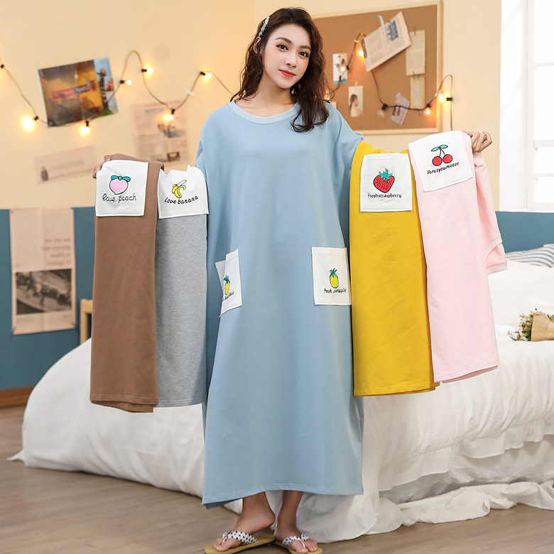 Nightgown Women's Long Sleeve Autumn White Pocket Blue Pineapple M-XXL 5 Color