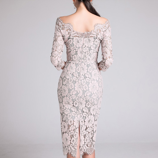 Fashion New arrived Women's Dress Fall 2019 New One-neck Low-breast Lace Seven-minute Sleeve-wrapped Hip Dress 2