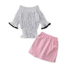 DFXD Children Clothes 2020 Summer Girl Clothing Set Cotton Polka Dot Off Shoulder Tops Pink A-line Skirts Princess Kids Sets
