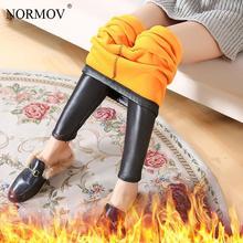 NORMOV Winter Women Leggings Warm Thick Plus Velvet Black Faux Leather Pants Women Compression Slim Casual Leggings