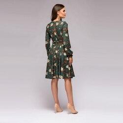 Women Floral Print a Line Dress Long Sleeve Casual Women Christmas Dress 2019 Autumn Club Party Elegant Fashion Women Dress 4