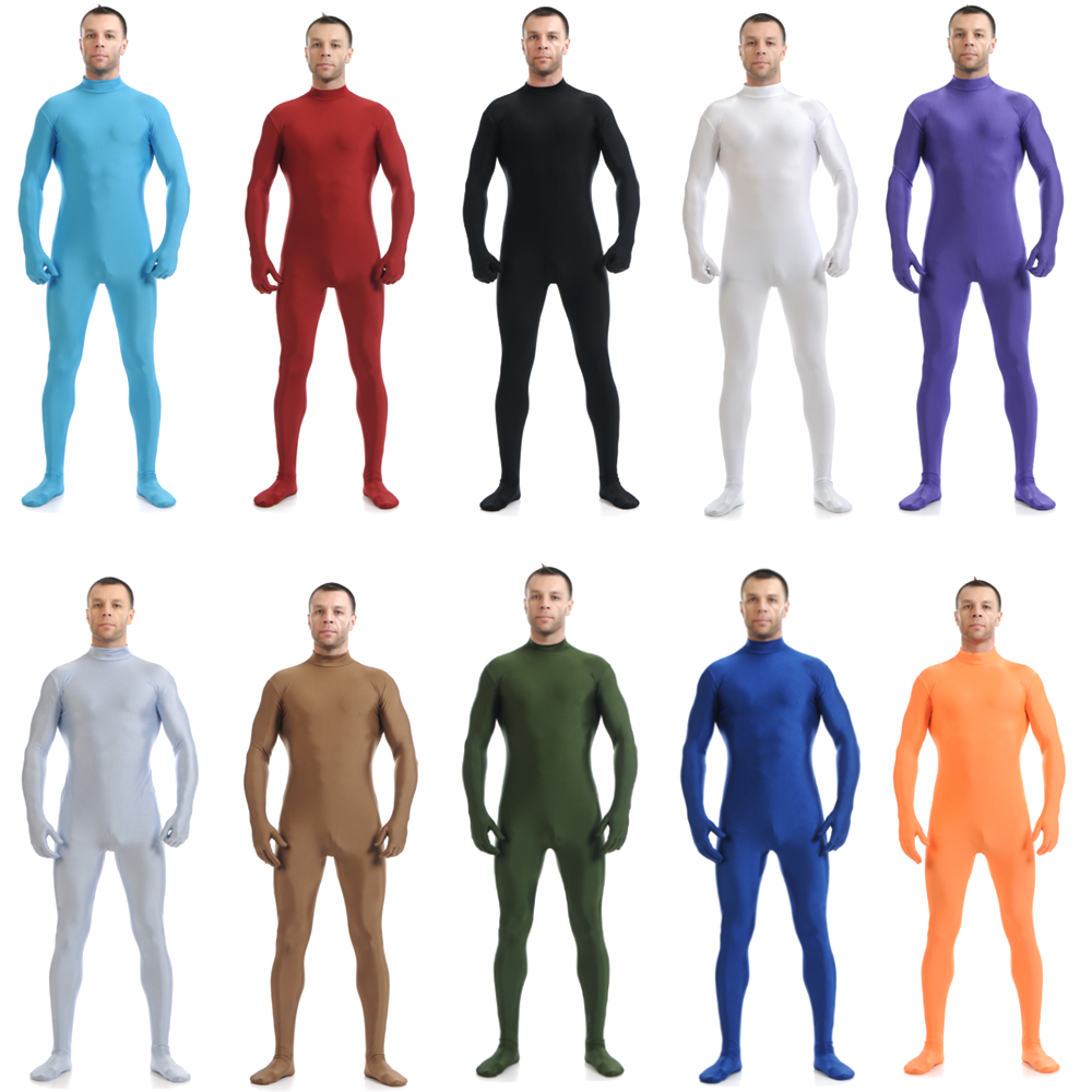 Zentai Costumes Full Body Lycra Spandex Suit Skin Tight Catsuit Halloween Adult Men Bodysuit Unisex Black White No Hood