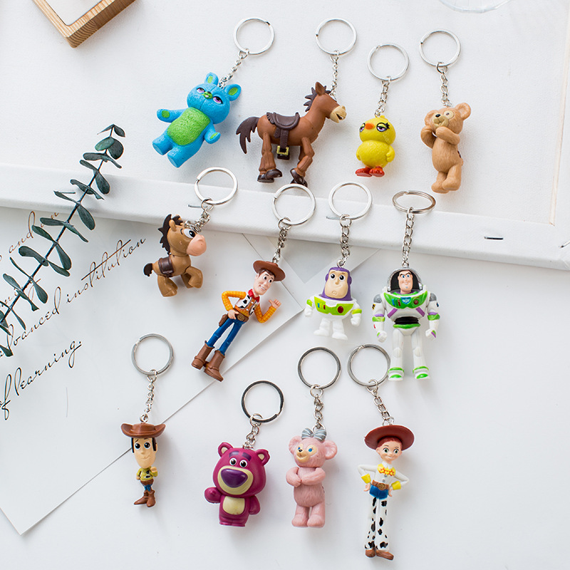 Toy Story 4 Mini Action Figure Toy Story Buzz Lightyear Woody Jessie Hamm Pig Bear Mochila Dinosaur Alien Keychain Keyring