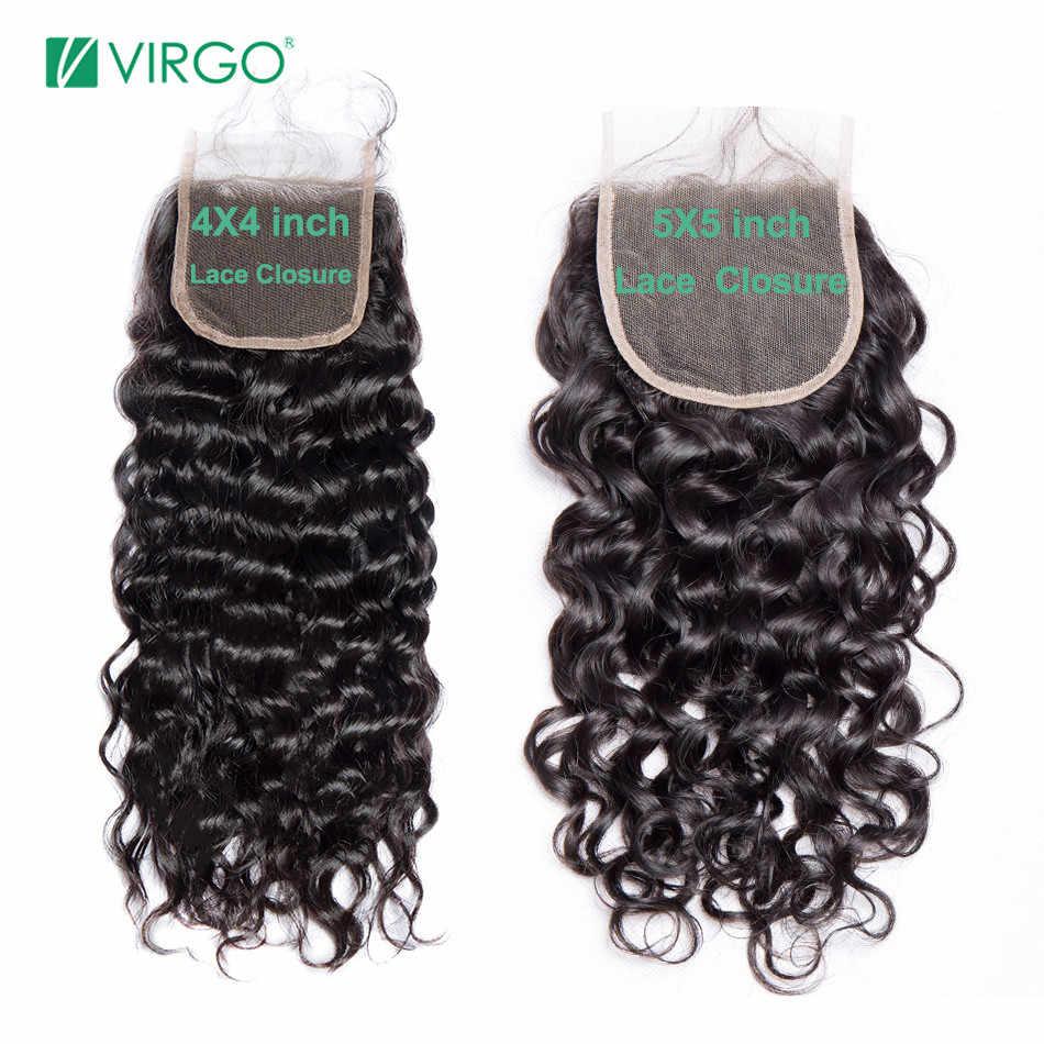 Virgo de la onda de agua de Malasia 3 mechones con cierre extensiones de cabello humano mechones con cierre 4X4 5X5 cierre no Remy armadura del pelo 4 unids/lote