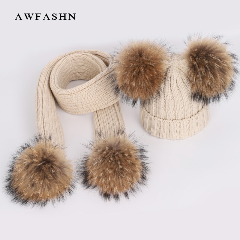 New Cute Children's Raccoon Fur Pom Poms Knit Beanie  Hat Scarf Boy /Girl Winter  Thicken Hedging Cap Scarves Soft Ski Baby Kids