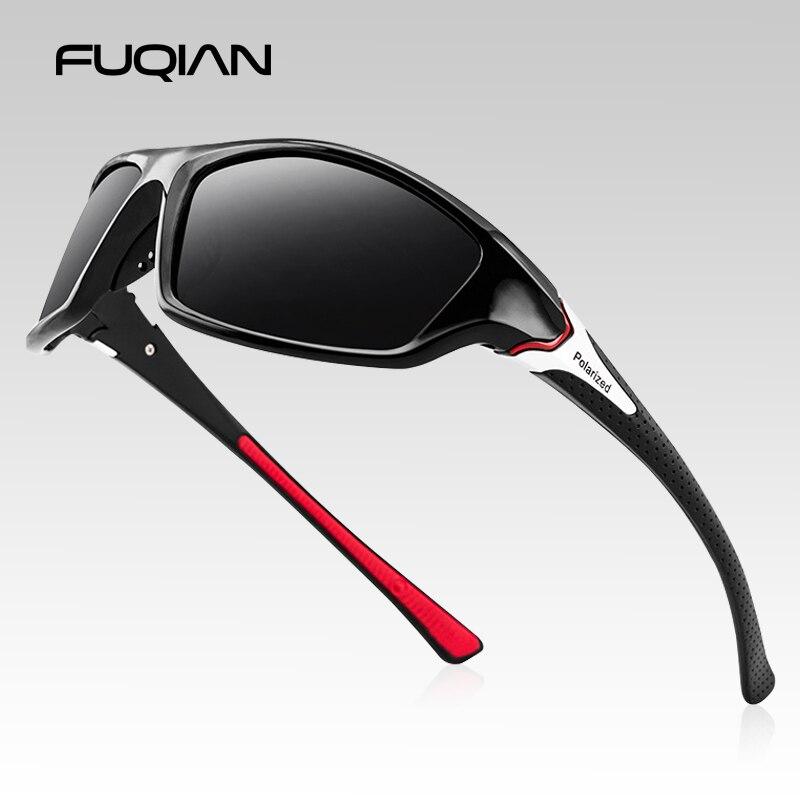 FUQIAN New Sports Polarized Sunglasses For Men And Women Fashion Plastic Outdoor Sun Glasses Black Shades Goggle UV400