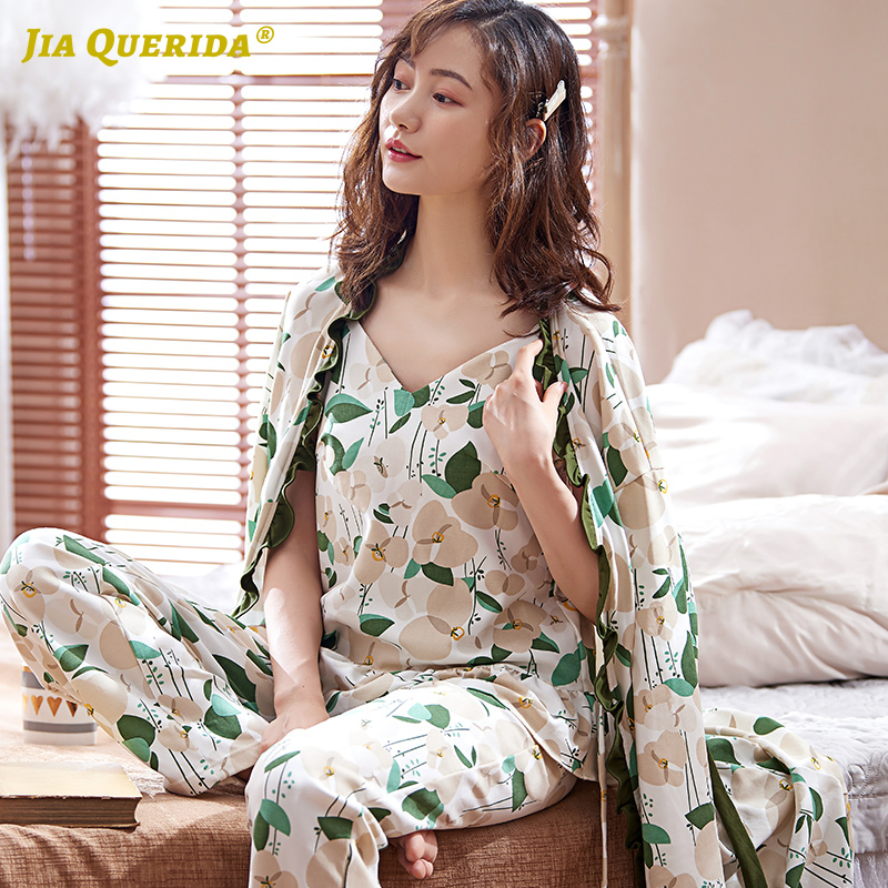 Pyjamas Women Luxury Home Clothing Plus Size 100% Cotton Robe Set Long Sleeves Pleated Trim Delicates Women Pajamas 2020 New Pjs