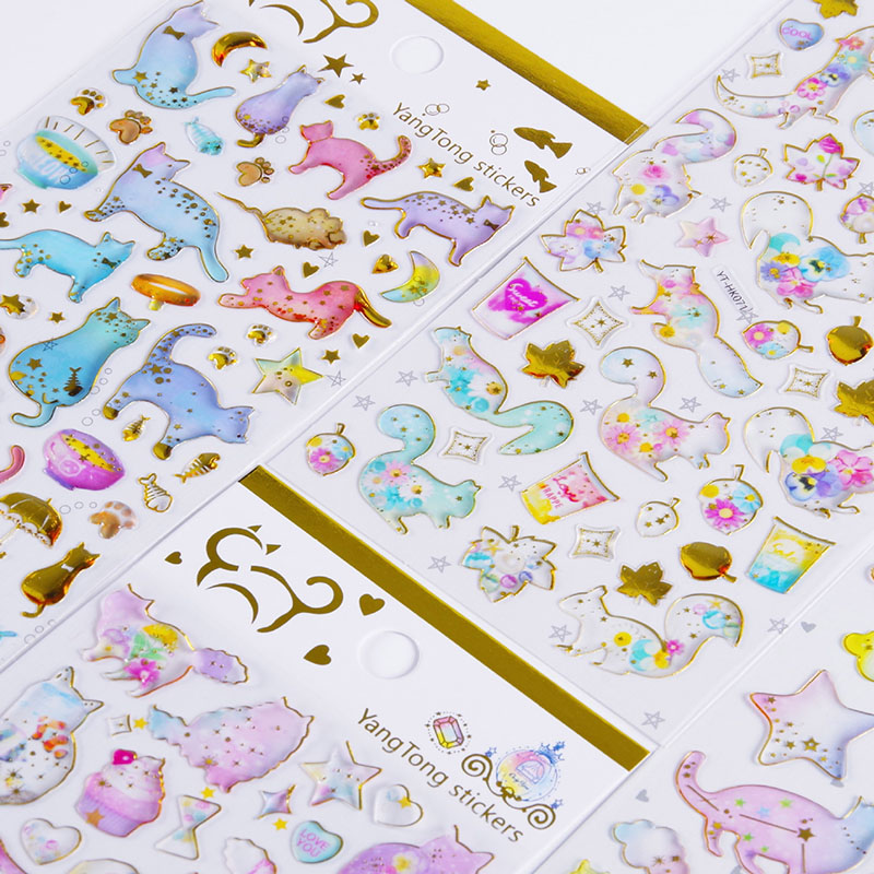 Cute Cat Flamingo Stickers Novelty Crystal Stickers Acrylic Decoration Stickers Kids DIY Diary Scrapbooking Stationery