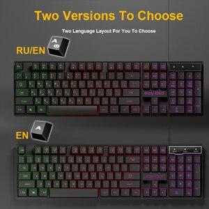 Image 4 - Проводная игровая клавиатура с имитацией механической клавиатуры 104 колпачков клавиатуры с RGB подсветкой эргономичная компьютерная клавиатура