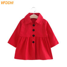 VFOCHI 2019 New Girl Trench Coat Windbreaker Fashion Red Khaki Jacket Children Clothing Autumn Baby Girls Outerwear Long