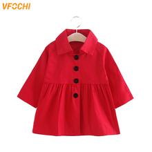 VFOCHI 2019 nowa dziewczyna wykop płaszcz wiatrówka mody czerwony Khaki kurtka odzież dla dzieci jesień odzież wierzchnia dziewczęca dla niemowląt długi wykop tanie tanio Plaid Anglia styl COTTON Poliester Skręcić w dół kołnierz Kurtki płaszcze Pełna Pasuje mniejszy niż zwykle proszę sprawdzić ten sklep jest dobór informacji