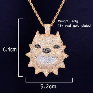 Image 2 - Мужской кулон в виде головы собаки, кулон с цепочкой для тенниса золотого цвета с фианитом, ювелирные украшения в стиле хип хоп, рок, Steet