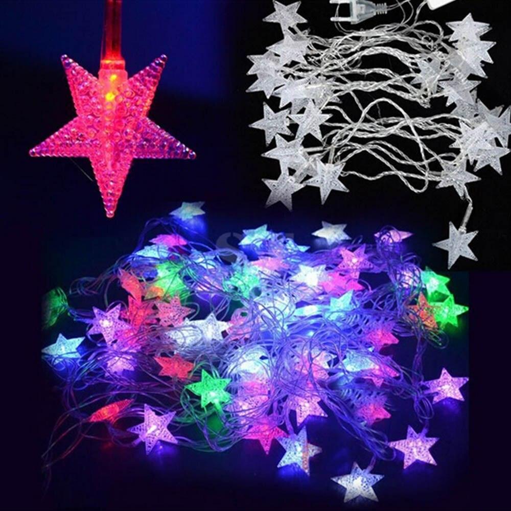 70leds 10m 110v/220v LED Stars String Bulb Christmas Festival Light Fairy Light Bulb Garland Birthday Party Garden Decoration