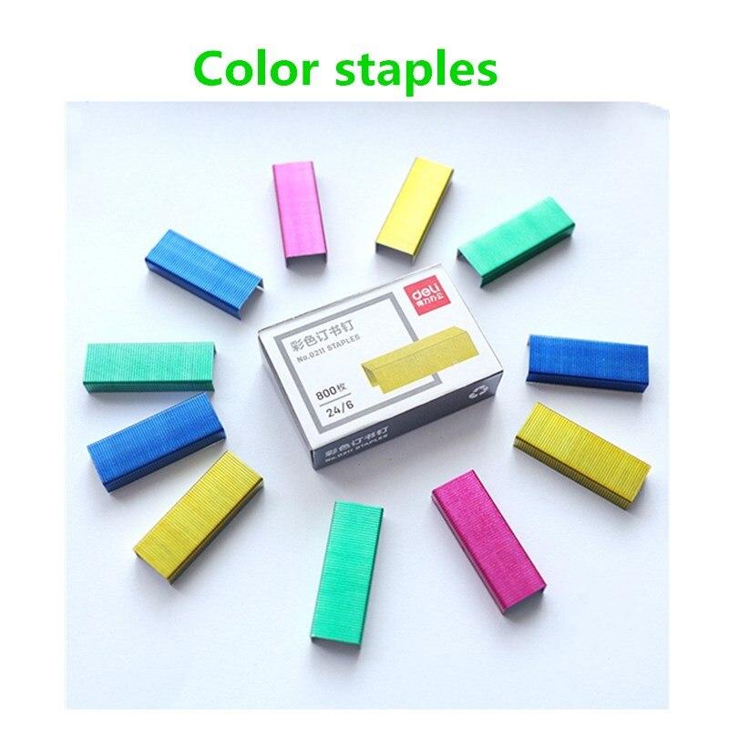Effective 0211 Color Staples 1box 24/6 Uniform Nail 12 # Binding Staple Color Stapler Needle File Document Data Binding